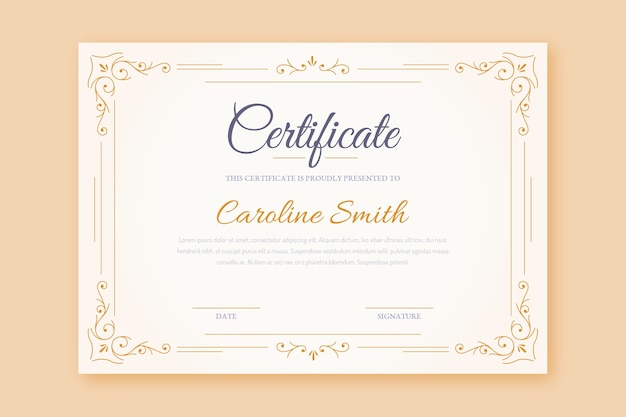 Elegancki szablon ramki certyfikatu