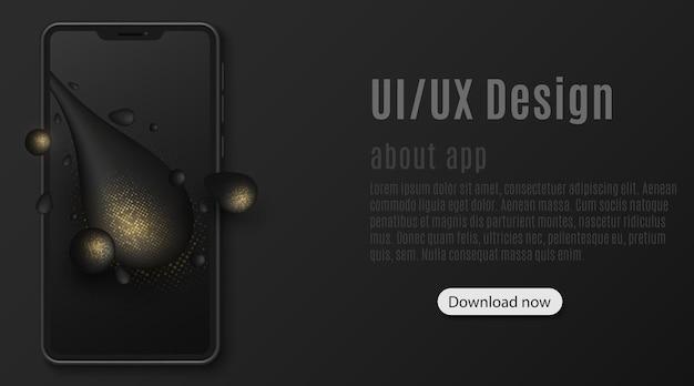 Elegancki szablon smartfona z abstrakcyjnymi płynnymi kształtami i złotym brokatem