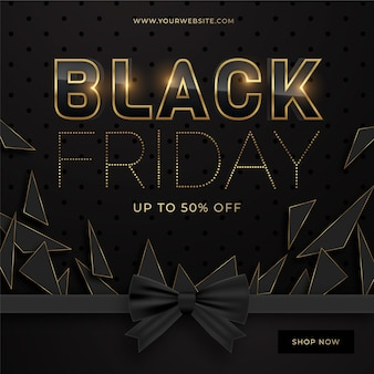 Elegancki szablon sprzedaży w czarny piątek z czarną wstążką