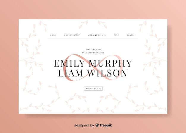 Elegancki szablon strony docelowej na uroczystości weselne