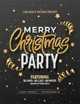Elegancki szablon świąteczny plakat z błyszczącym złotym napisem wesołych świąt.