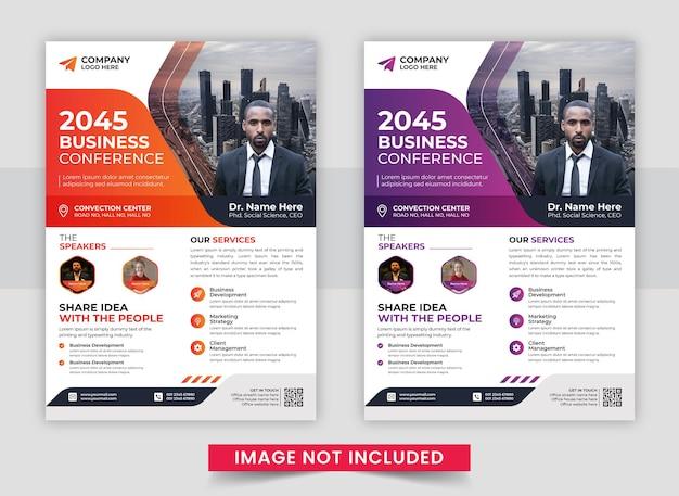 Elegancki szablon ulotki firmowej konferencji biznesowej
