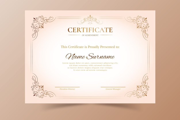 Elegancki szablon uznania certyfikatu