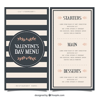 Elegancki szablon valentine menu
