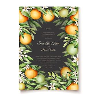 Elegancki szablon zaproszenia akwarela pomarańczowe owoce