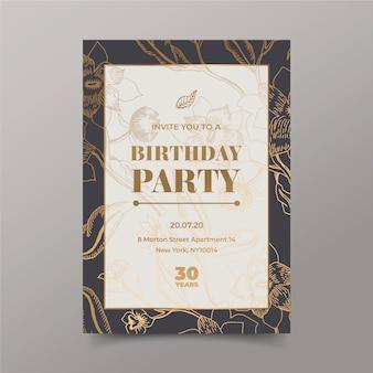 Elegancki szablon zaproszenia na przyjęcie urodzinowe