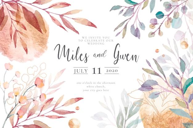 Elegancki szablon zaproszenia na ślub gotowy do druku