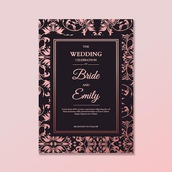 Elegancki szablon zaproszenia ślubne adamaszku