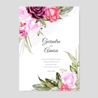 Elegancki szablon zaproszenia ślubne akwarela karty z róż i liści