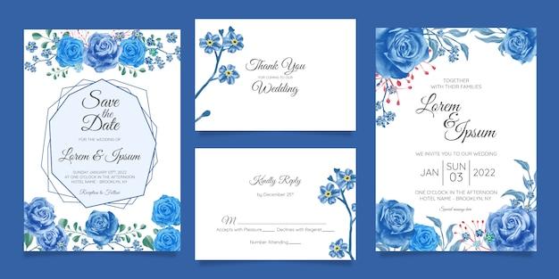 Elegancki szablon zaproszenia ślubne akwarela zestaw z dekoracje kwiatowe