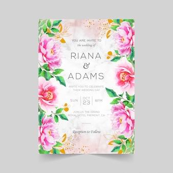 Elegancki szablon zaproszenia ślubne z akwarela dekoracje kwiatowe