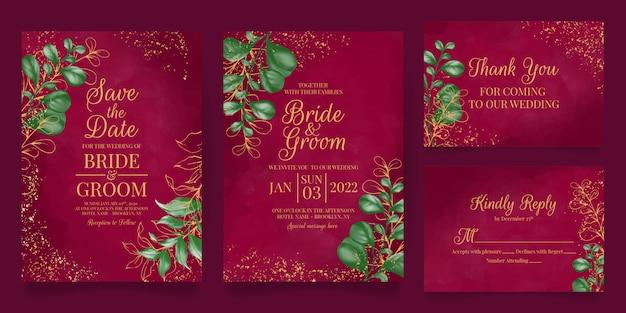 Elegancki szablon zaproszenia ślubne z akwarelowymi dekoracjami kwiatowymi