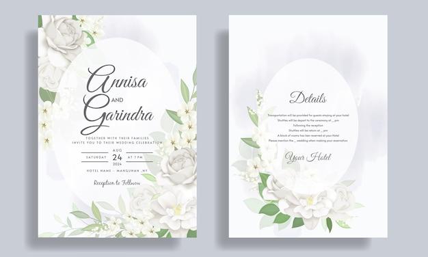 Elegancki szablon zaproszenia ślubne z białym kwiatem i liśćmi premium wektorów