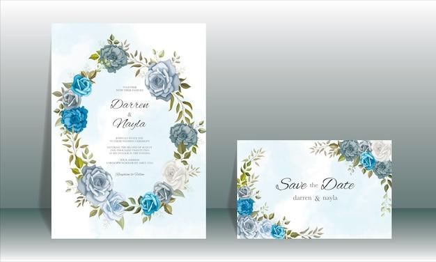 Elegancki szablon zaproszenia ślubne z dekoracją kwiatową