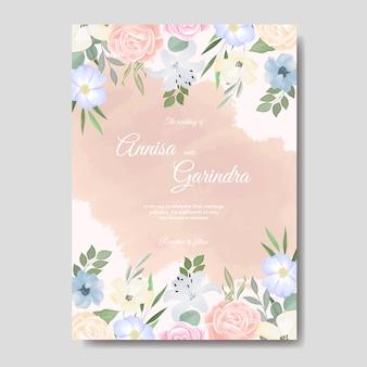 Elegancki szablon zaproszenia ślubne z kolorowych kwiatów i liści