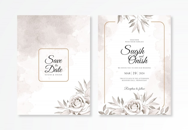 Elegancki szablon zaproszenia ślubne z kwiatem akwarela