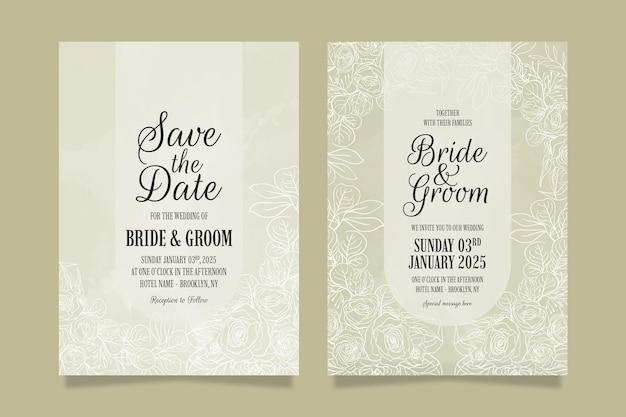 Elegancki szablon zaproszenia ślubne z kwiatowymi liśćmi