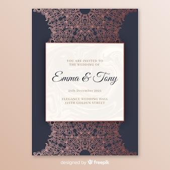 Elegancki szablon zaproszenia ślubne z mandali