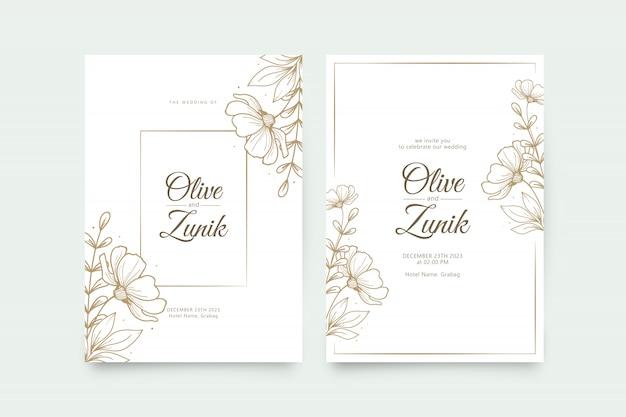 Elegancki szablon zaproszenia ślubne z ręcznie rysowane kwiaty i liście