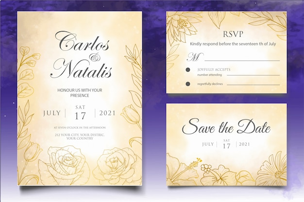 Elegancki szablon zaproszenia ślubne z rocznika dekoracje kwiatowe