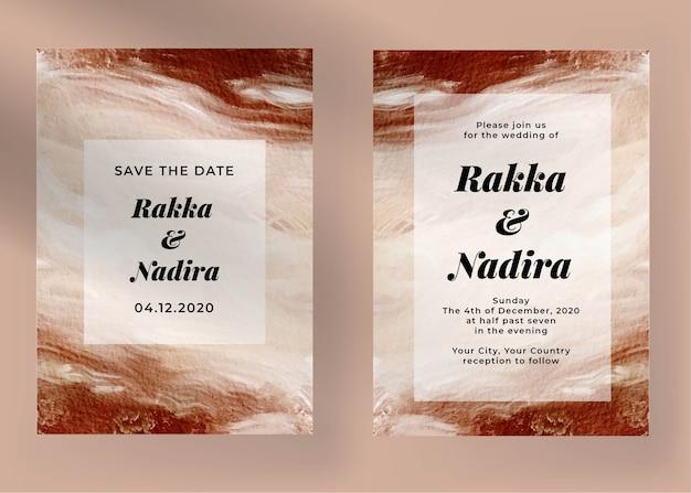 Elegancki szablon zaproszenia ślubne zaręczynowe z malarstwem abstrakcyjnym