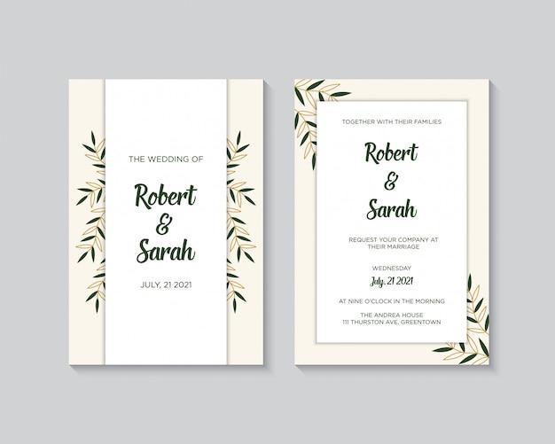 Elegancki szablon zaproszenia ślubne ze złotym wektorem dekoracji kwiatowych