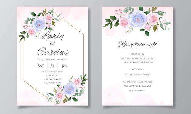 Elegancki szablon zaproszenia ślubne zestaw pięknych róż i zielonych liści
