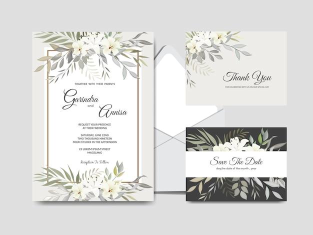 Elegancki szablon zaproszenia ślubne zestaw z białych kwiatów i liści