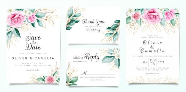 Elegancki szablon zaproszenia ślubne zestaw z dekoracją kwiatów i zarysowanymi liśćmi brokatu