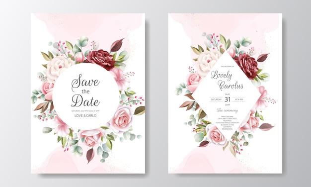 Elegancki szablon zaproszenia ślubne zestaw z dekoracje kwiatowe i złoty brokat
