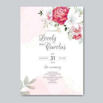 Elegancki szablon zaproszenia ślubne zestaw z dekoracje kwiatowe