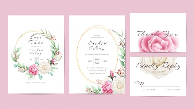 Elegancki szablon zaproszenia ślubne zestaw z róż i liści