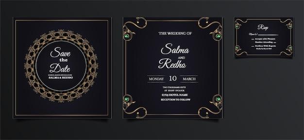 Elegancki szablon zaproszenia ślubne zestaw
