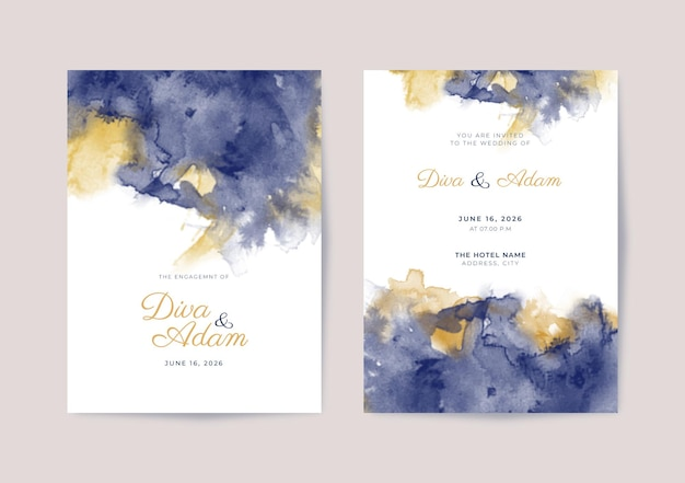 Elegancki szablon zaproszenia ślubnego akwarela