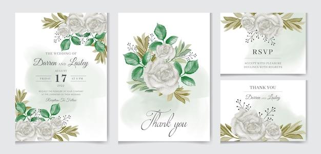 Elegancki szablon zaproszenia ślubnego z akwarelą z białymi liśćmi zieleni