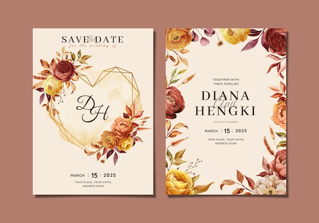 Elegancki szablon zaproszenia ślubnego z akwarelą z jesiennym kwiatowym