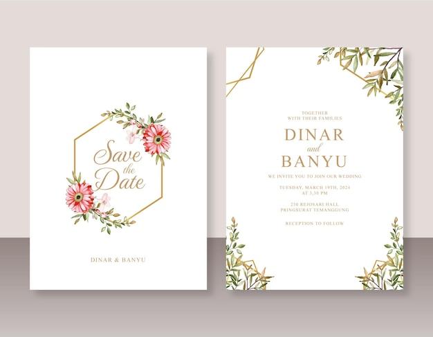 Elegancki szablon zaproszenia ślubnego z akwarelą