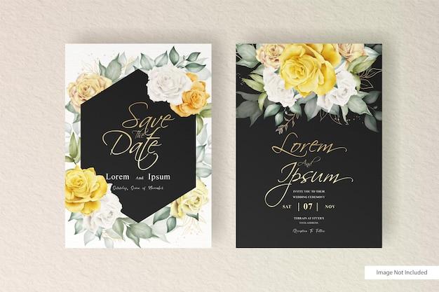 Elegancki szablon zaproszenia ślubnego z akwarelowymi kwiatami i liśćmi