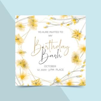 Elegancki szablon zaproszenia urodzinowego z kwiatami
