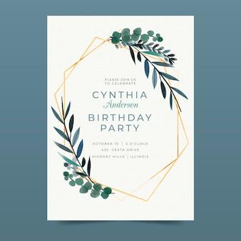 Elegancki szablon zaproszenia urodzinowego