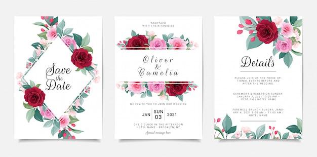 Elegancki szablon zaproszenia zestaw z ramą kwiatowy. botaniczna ilustracja róż i liści