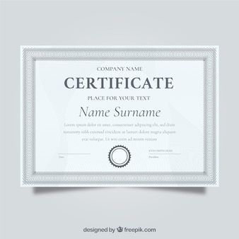 Elegancki szary certyfikat