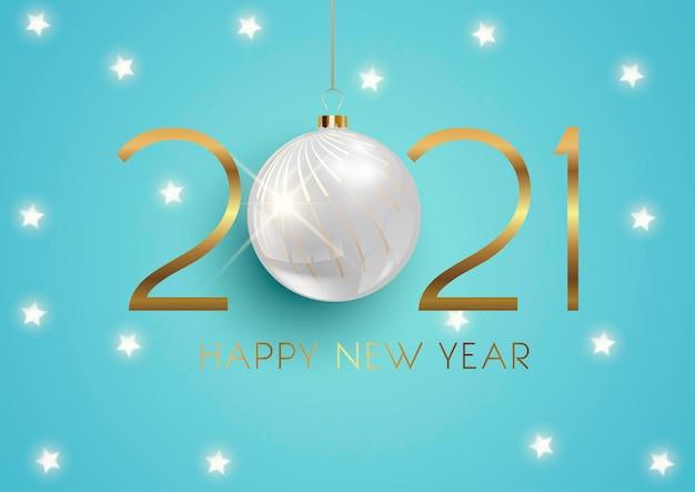 Elegancki szczęśliwego nowego roku z wiszącą bombką i złotymi gwiazdami