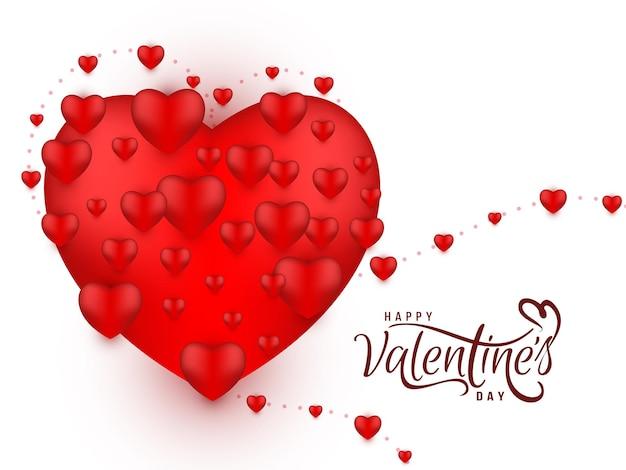 Elegancki szczęśliwy walentynki duże czerwone serce tło