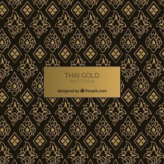 Elegancki tajski wzór w złotym stylu