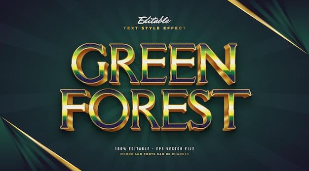 Elegancki tekst w zielonym lesie w kolorze zielonym i złotym z efektem 3d. edytowalny efekt stylu tekstu