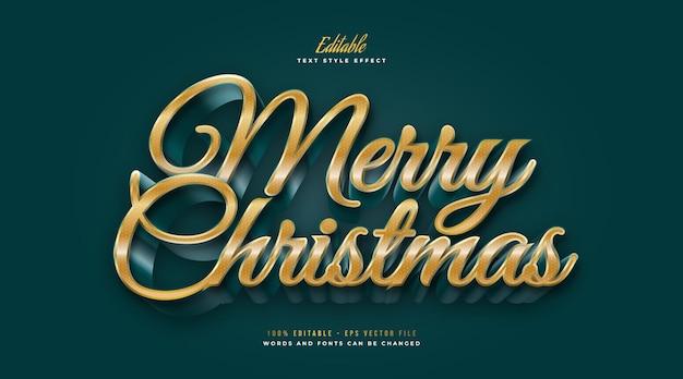 Elegancki tekst wesołych świąt w stylu złotym i zielonym z efektem 3d. edytowalny efekt stylu tekstu