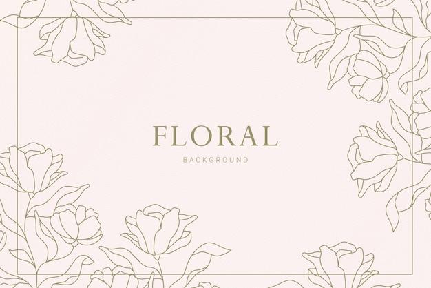 Elegancki vintage asymetryczny narożnik kwiatowy roślina liść ręcznie rysowane ilustracja transparent tło