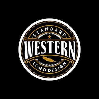 Elegancki vintage retro badge label emblem western logo design inspiracja