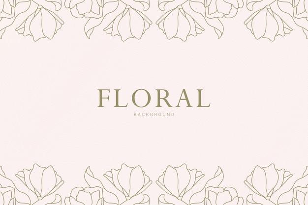 Elegancki vintage symetryczny kwiatowy liść rośliny ręcznie rysowane ilustracji banner tło
